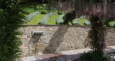 Fontana in giardino vista da sotto il glicine.